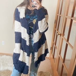 Free People Striped Boucle Knit Coat/Sweater
